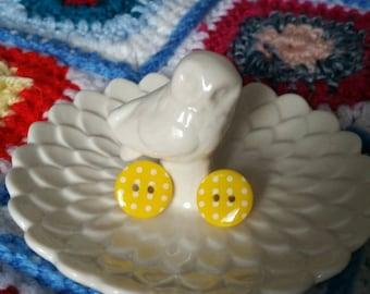 Bright polka dot button stud earrings - Handmade