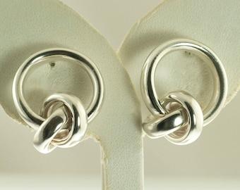 Sterling Drop Knot Earrings