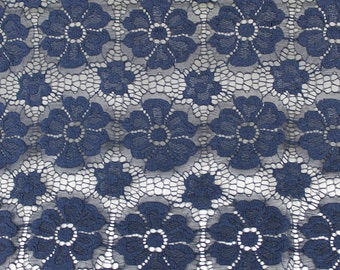 Navy Catherine Floral Stretch Lace Fabric by Yard - Style 646