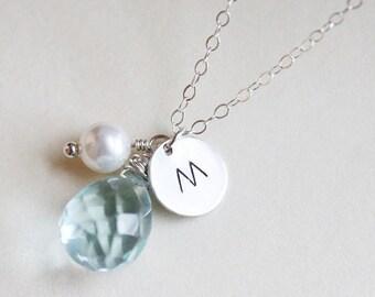 Personalized Aquamarine Necklace  Birthstone  Necklace  Initial Necklace - March Birthstone - Sterling Silver - Bridal Jewelry