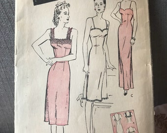 Vintage 40s Butterick 3012 Slip Pattern-Size 16 (34-28-36)