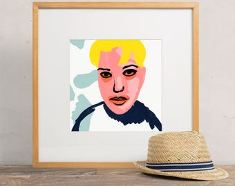 Colorful Square Illustration Art Print of Woman