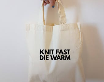 Large Crochet project bag - Knit fast die warm Yarn project bag - crochet tote bag - sock project bag - knitting tote bag