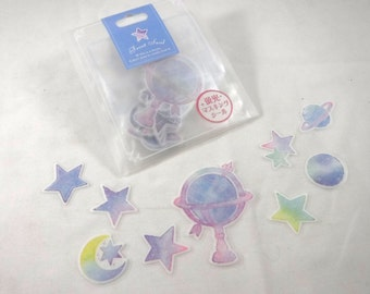 Kawaii Japan Sticker Flakes Assort: Frost Seal Series NEON - COSMOS - Masking Tape Tracing Paper Stars Crescent Moon Planets Space Z