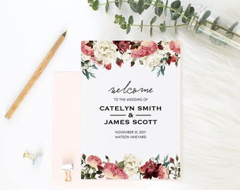 Wedding Program Book Template, Printable Wedding Program, Catholic Wedding Program, Instant Download Editable PDF Rustic Flower #SPP002pk