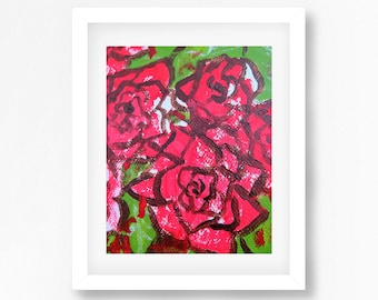 Roses Painting Print, Alice In Wonderland Paint the Roses Red, Alice Print, Alice Painting, Roses Art, Roses Wall Art, Roses Decor