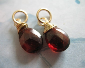 GARNET Pendant Charm Add a Dangle Drop, 18-20 mm, Sterling Silver or 14k Gold Filled, January birthstone gemdone gd95 solo
