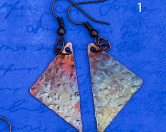 Fire patina textured copper triangle earrings in pinks, oranges and purples and blues