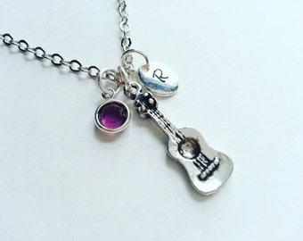 Personalized Silver Guitar Necklace,  Hand Stamped Initial,  Genuine Swarovski Birthstone Crystal, Custom Length