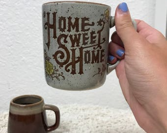 Vintage pair of Boho style Coffee Mugs , Home sweet home, glazed