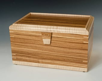 Handcrafted Wood Jewelry Box Made with Zebrawood and Tiger Maple