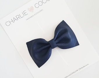 "Baby / Girls Leather Bow Headband, Leather Hair Bow Clip, Genuine Leather Baby Bows, Baby Hair Clips, Baby Headband ""Navy Blue Classic"""