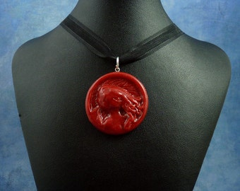 Burgundy Cthulhu Cameo Necklace, Polymer Clay Jewelry
