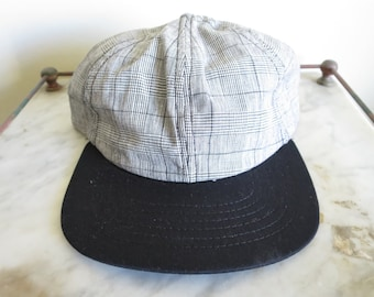 Vintage 90's Plaid all over print adjustable snapback cap hat | Made in USA | DEADSTOCK
