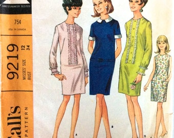 Vintage 1960s Pattern | Misses Dress in 4 Versions | Size 12 Bust 34"