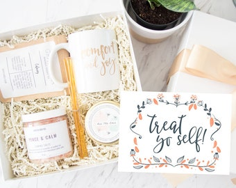 Treat Yo Self - Self Care Kit   Care Package   Stress Relief Kit   Self Care Box   Gift For Wife   Gift For Mom Gift For Sister Gift For Her