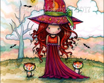 Little Witch with Orange Tabby Cats -  Original Mixed Media Illustrationby Molly Harrison - Halloween, witch, cats, orange tabby