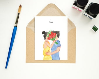 Postcard - couple kissing behind flowers - Bisous
