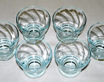 8 Eva Zeisel Sapphire Blue Prestige Glasses by Federal Glass, Blue Swirl Liquor Glasses, Bar-ware with Style