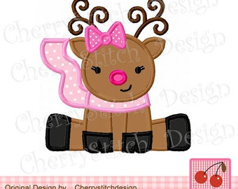 """Christmas Reindeer  Machine embroidery applique design for  girls -4x4 5x5 6x6"""""""