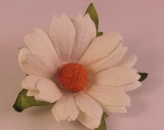 Paper Daisy Flower Lapel Pin - White - Everyday / Weddings / Proms