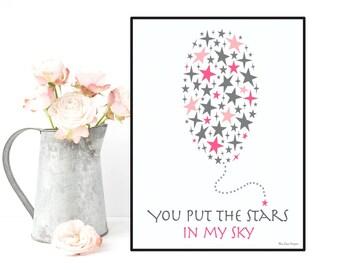 Nursery art girl, Illustration balloon stars, Baby illustration, Nursery art printable, Nursery wall art, Baby love poster, Baby girl decor