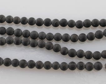 4mm Matte Black Onyx Beads, Round, Full or Half Strand, Frosted Black Beck ads, 4mm Onyx, 4mm Black Beads, Matte Beads, Matte BlaBeads, 4 mm