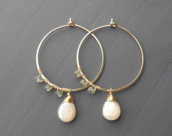 Beaded Gold Fill Gemstone Hoops