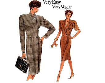 Vogue 7061 Womens Wrap Coatdress 80s Vintage Sewing Pattern Size 6 8 10 Bust 30 1/2 31 1/2 32 1/2 inches UNCUT Factory Folded