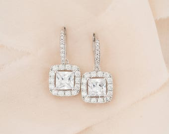 Bridal Earrings, Crystal Wedding Earrings, Cushion Cut Earrings, Wedding Jewellery