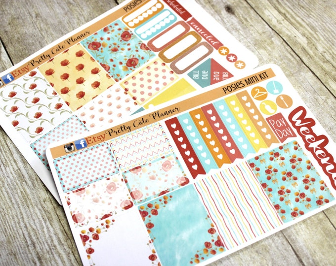 Planner Stickers - Weekly Planner Sticker Set - Erin Condren Life Planner  - Day Designer- Functional stickers Pretty Posies