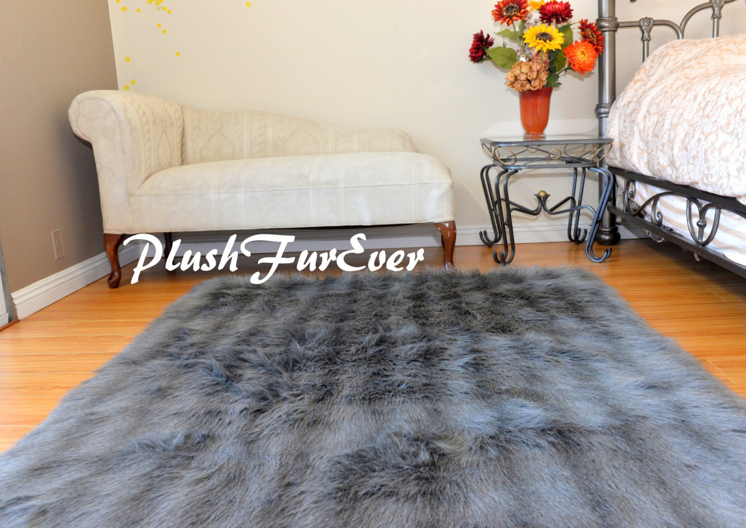rectangle tapis rayures gris argent bleu fourrure tapis lodge. Black Bedroom Furniture Sets. Home Design Ideas