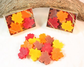 Leaf Shaped Candle Tarts, Fall Decoration, Fall Wax Melts, Leaves Scented in Autumn Woods or November Rain, Halloween Decoration, Fall Decor