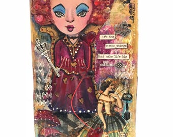 Queen of Hearts Mixed Media Doll