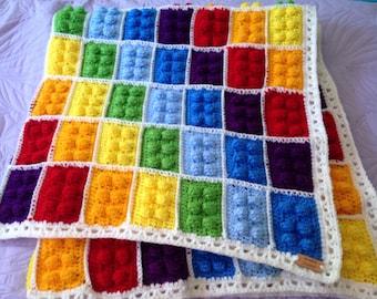 Crochet Lego Blanket, Lego Afghan, Crochet Lego Throw, Lego Block Blanket, Lego Kids Throw, Building Block Blanket, Lego Theme Throw