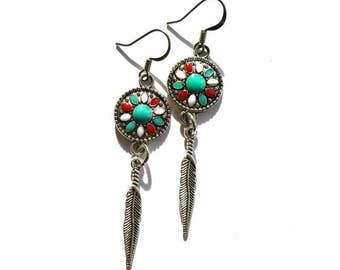 Feather Medallion Dangle Earrings