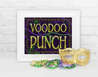 Voodoo Punch Sign, Mardi Gras Party Decoration, Mardi Gras Party Decor, Mardi Gras Voodoo Punch, Mardi Gras Drink Sign, Party Decorations