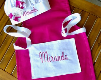 Girls apron chefs hat personalized apron set in pink includes name