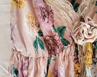 Vintage silk babydoll nightie slip - dusty pink floral medium size