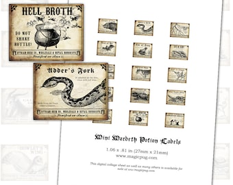 Mini Macbeth Witch Wine Labels digital collage sheet set for pendants for potion bottle necklaces