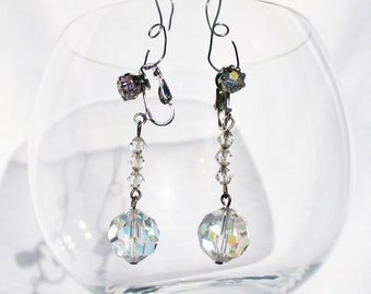 Swarovski Crystal Clip On Drop Earrings