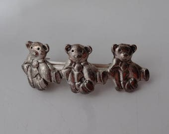 3 TEDDY BEAR Silver Metal Hair Clip Slide