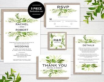 Greenery Wedding Invitation template, Wedding Invitation set, Greenery Invitation, summer Invitation, Printable wedding invitation