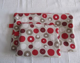Duo flat zippered pouches in red and ecru