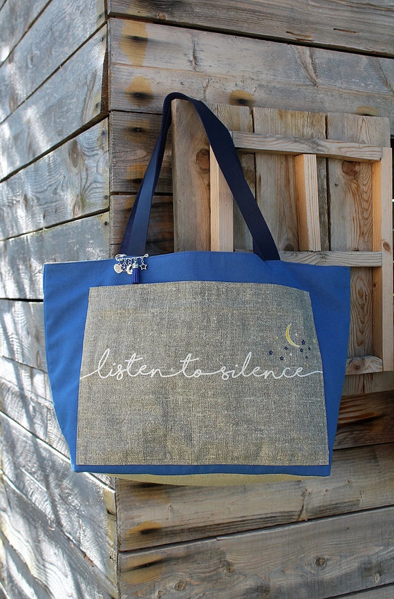 """Tote bag in linen and cotton """"Listen to silence"""""""