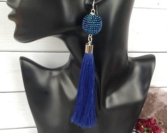 Blue tassel earrings Long tassel earrings Stud earrings Beadwork earrings Earrings gift Long earrings
