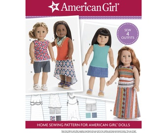 Simplicity 8040 Sewing Pattern, American Girl, 18 inch Doll Clothes, Sew Four Outfits, Skirts, Tops, Shorts, Scarf, Uncut and Factory Folded