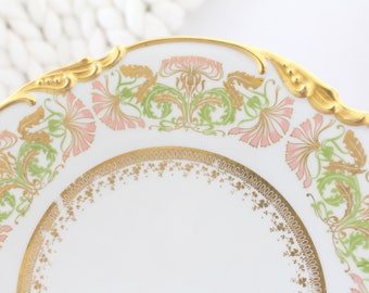 19TH CENTURY, Antique Gold Gilt Embossed Porcelain Plate by Jean Pouyat, JP, Limoges, France, Collectible - ca. 1890 - 1932