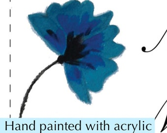 Blue Flower Wedding Invite, Painted and scanned, instant download and edit