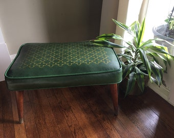 Green Mid Century Modern Foot Stool Retro Accent Furniture - Gold Geometric Design Accents - Atomic Home Decor Ottoman